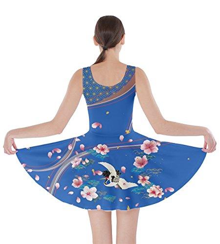 Floreale Cowcow Stile Di Pattinatore Gru Blu Womens Fiori 2 Giapponese 5xl Gru Fuji Fiori Ciliegio Sakura Abito Xs 8UfWdq