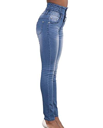Vaqueros Zhuikun Claro Slim Push Pantalones Up Elásticos Para Mujer Azul Jeans Leggings Skinny nf6Ifq