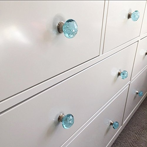 Knobs Aqua Blue Bubbles Glass Dresser Drawer, Kitchen