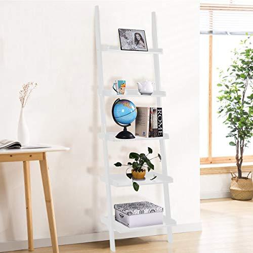 Tangkula Ladder Shelf, 5-Tier Multifunctional Modern Wood Plant Flower Book Display Shelf, Home Office Storage Rack Leaning Ladder Wall Shelf (White, 1)
