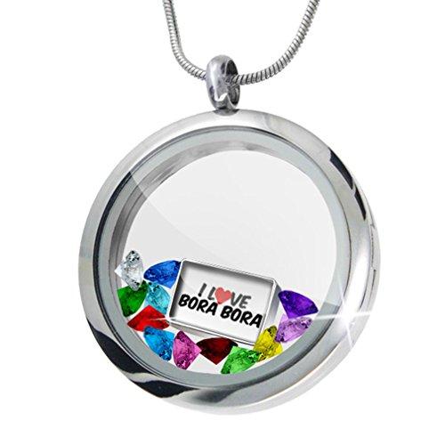 I Love Bora Bora + 12 Crystals + Charm, Neonblond (Bora Crystal)