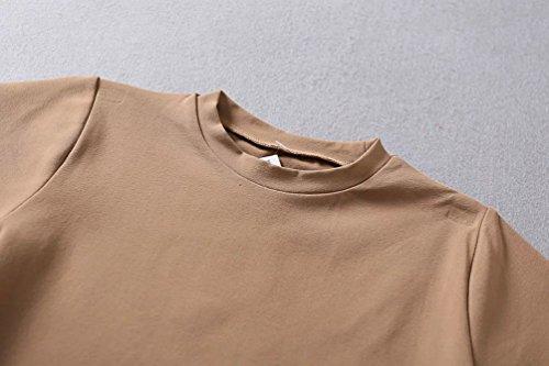 WanYang Mujeres Cuello Redondo T shirt Verano Camiseta de Manga Corta Blusa la Camiseta Tops Caqui