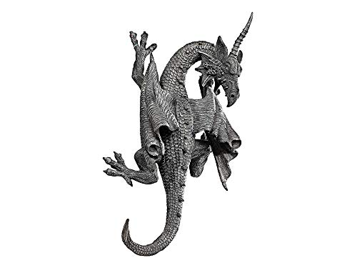 Beetlejuice Cape - Dеsign Tоscаnо Home Decor Horned Dragon of Devonshire Wall Sculpture, 13 Inch, Polyresin, Grey Stone
