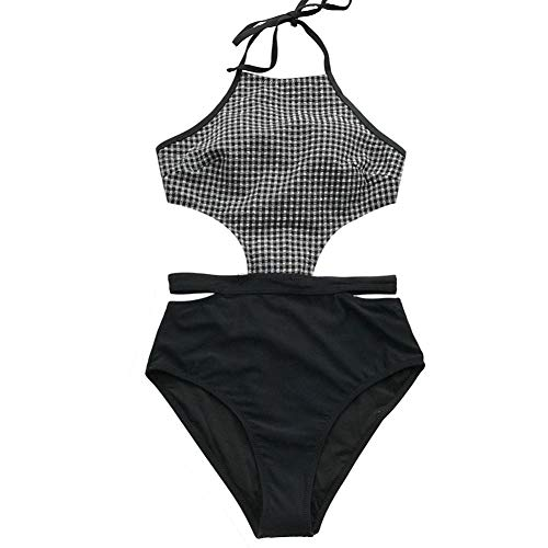 Women Black And L White One Beach Shengyunpio piece Swimsuit Halter Gingham Bathing Suit Backless Swimwear Cutout 8Tq5WZwd