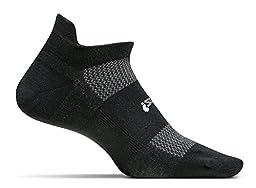 Feetures! Men\'s High Performance Cushion No Show Tab, Black, Medium