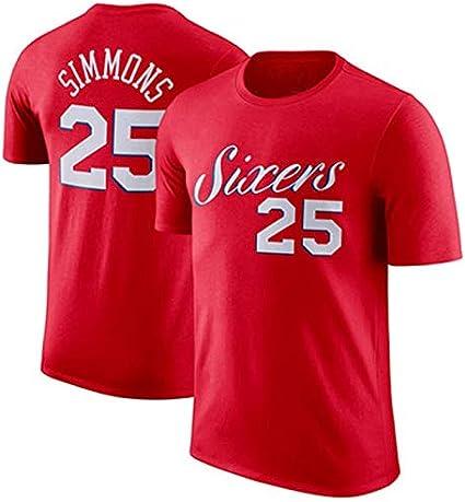 SHOP YJX 76ers Ben Simmons 25 Enbid 21 Cotton Basketball Short Sleeve Training Appearance Dress T-shirt Sweatshirt Male Color : Blue 1, Size : XS