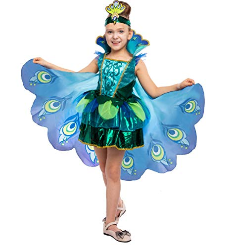 Peacock Dress with Feather Wings and Headband
