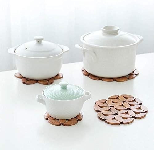 Yuelso 1pcs Runde Bambus Coaster Pot Cup Tischset Isolierung Pad Schreibtisch Mat Küchenzubehör (Color : Large Round) Plum Blossom