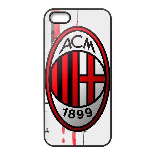 Ac Milan 001 coque iPhone 5 5S cellulaire cas coque de téléphone cas téléphone cellulaire noir couvercle EOKXLLNCD21299