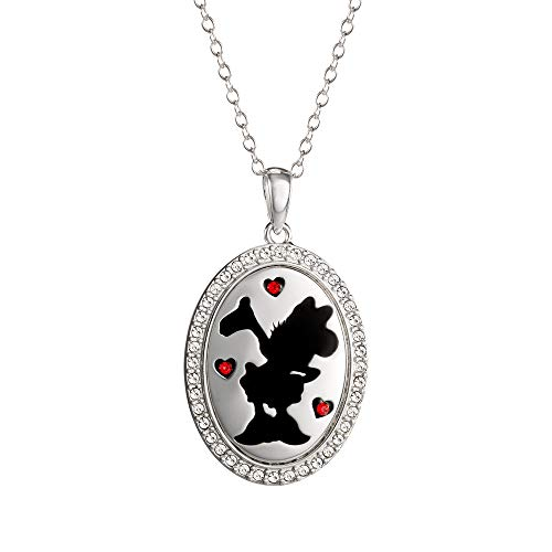 Disney Minnie Mouse Jewelry Sterling Silver Engraved Oval Crystal Silhouette Pendant Necklace ()