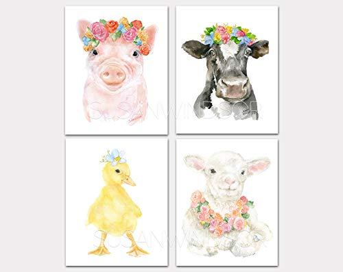 Farm Animals Floral Watercolor Print Set of 4