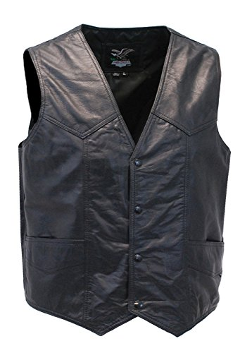 Jamin' Leather Men's Western Ultra Soft Lambskin Leather Vest (3XL) #VML01