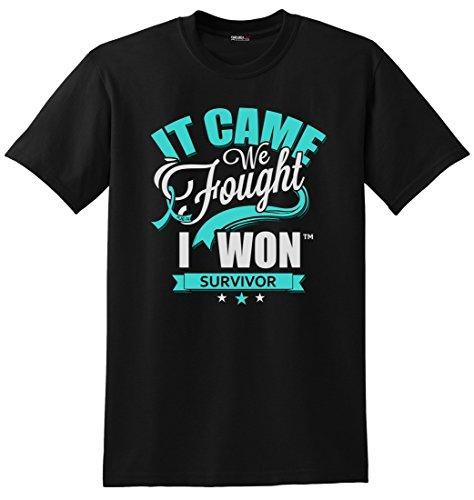 Fight Like a Girl It Came. We Fought. I Won. Ovarian Cancer, PCOS, Cervical Cancer Survivor Awareness Unisex T-Shirt - Black w/Teal [XL] ()