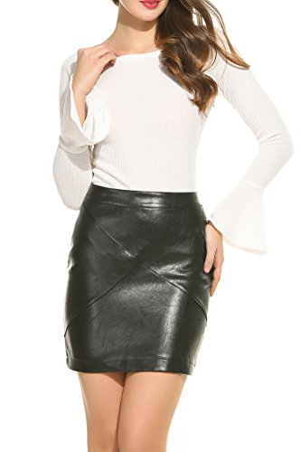 Zeagoo Leather Bodycon Waisted Pencil product image