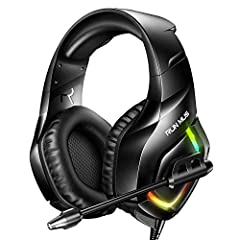 RUNMUS Gaming Headset- A comfortable headset for long gaming hours and great audio reproduction to hear everything around you. BREATHTAKING SOUND QUALITY With high precision 50mm audio drivers, RUNMUS gaming headphones deliver a surprisingly ...