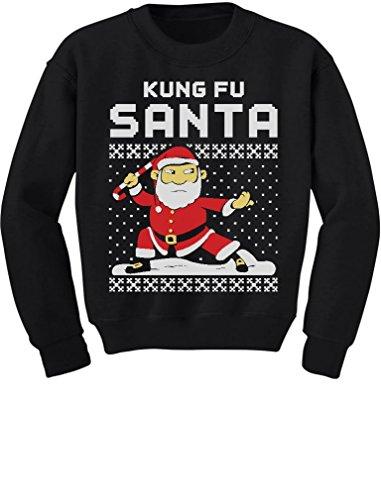 Tstars TeeStars - Kung Fu Santa Ugly Christmas Sweater Funny Toddler/Kids Sweatshirts 5/6 (Funny Holiday Family Photos)
