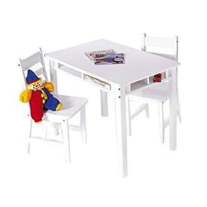 Lipper International 534W Child's Rectangular Table and 2-Chair Set, White