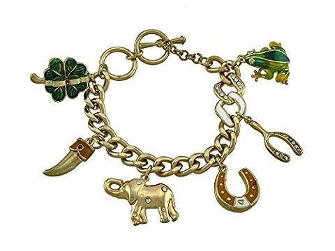Gold Tone Lucky Charm Bracelet - Tono Oro Charm Bracelet Bracciale