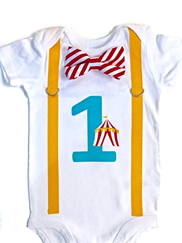 Circus Birthday Outfit Boy Carnival Cake Smash (12m short sleeve) ()