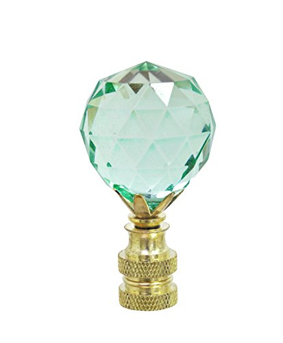 Aspen Creative 24007-21 Light Green Faceted Crystal Lamp Finial in Brass Plated Finish, 2 1/4
