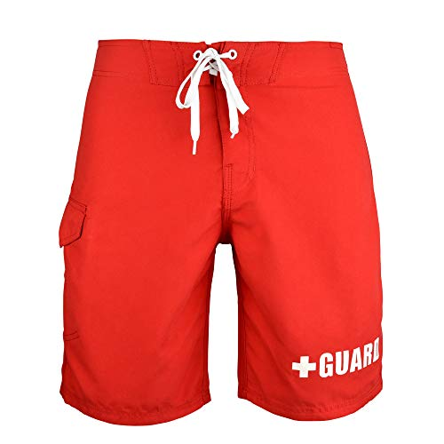 BLARIX Mens Lifeguard Board Short (Red, - Lifeguard Trunks Swim