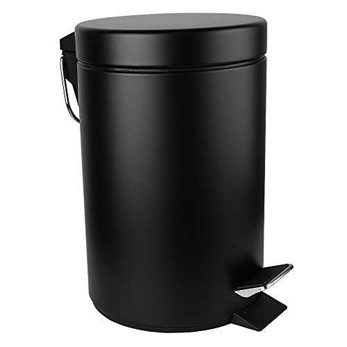 Malmo FE43005LB Mini Carbon Steel Round Step Trash Can,5L/1.3Gallon,Black (Step Trash Can Black compare prices)