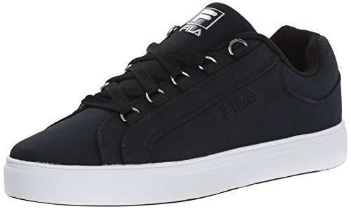 Fila Women's Oxidize Low Casual Leather Shoe, Black/White/Metallic Silver, 6 M US