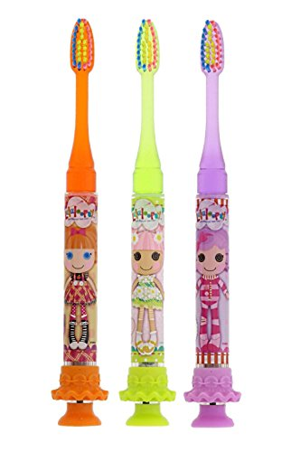 GUM Lalaloopsy Timer Light Toothbrush with Soft Bristles & Suction Cup Bottom, Pillow FeatherBed, Blossom Flowerpot, Bea Spells-a-lot, 3 Pack
