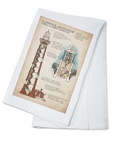 Outer Banks, North Carolina - Currituck Beach Lighthouse Technical (100% Cotton Kitchen Towel)