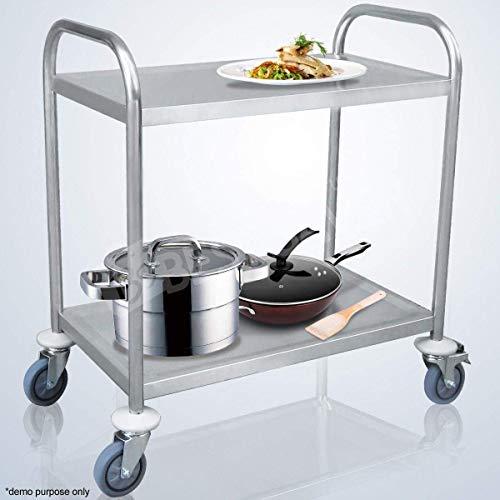 ybaymy Carro de acero inoxidable con 2 estantes, 80 cm, para cocina, isla y hostelería: Amazon.es: Juguetes y juegos