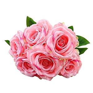 Botrong 1 Bouquet Vintage Artificial Rose Silk Flowers Bouquet for Decoration (B) 54