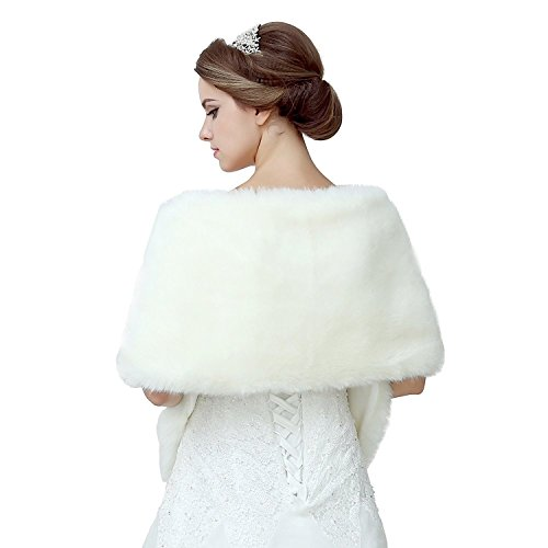 Review Diyouth Ivory Shawl Wrap Faux Fur Scarf Stoles for Wedding Dresses