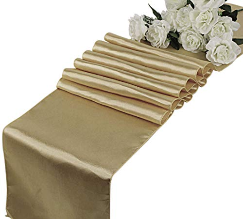 (mds Pack of 10 Wedding 12 x 108 inch Satin Table Runner for Wedding Banquet Decoration- Champagne Gold)