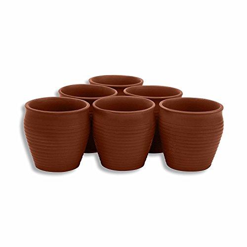 MC SID RAZZ Earthen Glazed Terracotta Chai (Tea) Handcrafted Studio Pottery Brown Kulhad Kullad/Kullar/Cups Set of 6 Brown ()