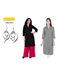 Indian Grey and Black Combo 2pc Straight Cotton Kurti/Kurta for Women