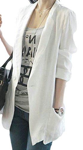 GloryA Women Loose Fit Cotton Linen Suit Coat Thin Outwear One Button Blazer Jacket White L