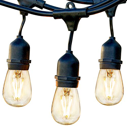 Commercial String - Brightech Ambience Pro - Waterproof LED Outdoor String Lights - Hanging, Dimmable 2W Vintage Edison Bulbs - 48 Ft Commercial Grade Patio Lights Create Cafe Ambience in Your Backyard