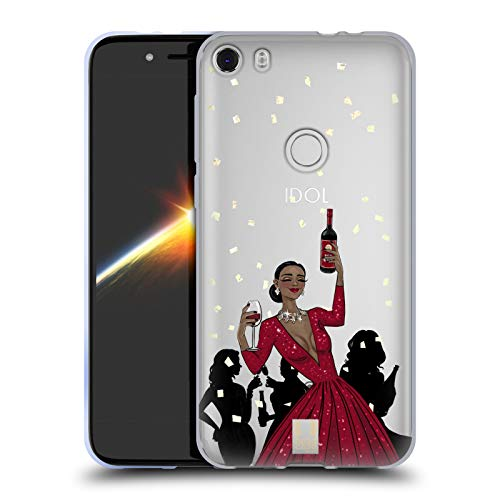 Head Case Designs Black Woman Red Dress Wine Celebration Soft Gel Case Compatible for Alcatel Idol 5