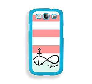 White Coral Stripes Anchor Refuse To Sink Aqua Plastic Bumper Samsung Galaxy S3 SIII i9300 Case - Fits Samsung Galaxy S3 SIII i9300