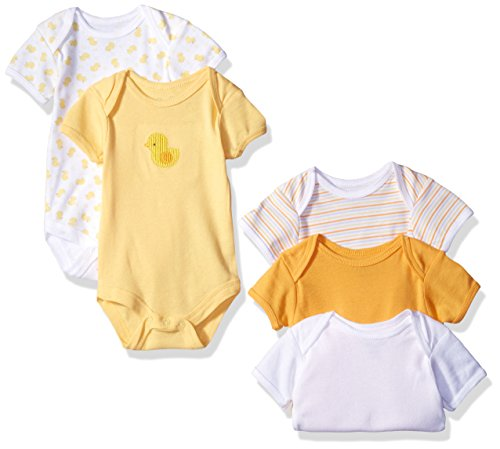 Rene Rofe Baby Lap Shoulder 5 Piece Bodysuit, Cute Yellow Duck, 6-9 Months