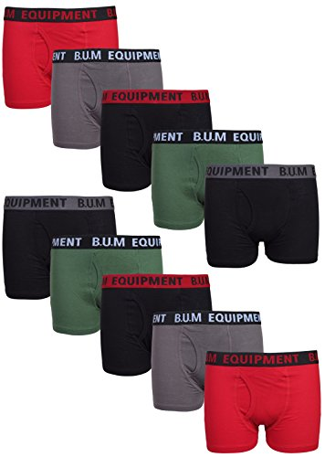 B.U.M. Equipment Boys 10 Pack Solid Boxer Briefs Underwear (More Colors Available)