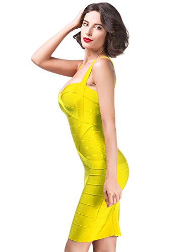 Alice & Elmer Women's Rayon Bodycon Strap Sleeveless Bandage Dress L Yellow