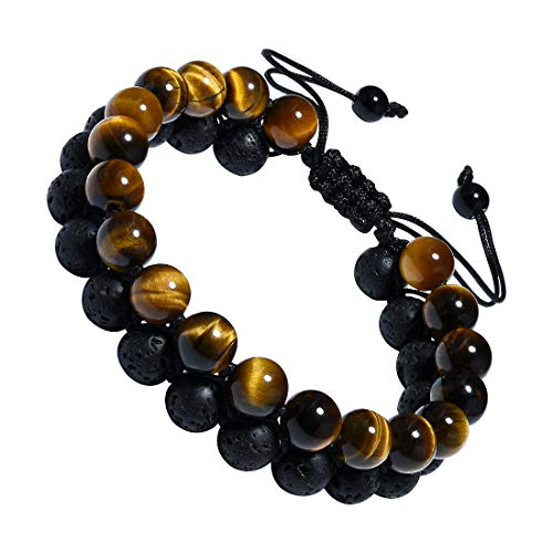 CAT EYE JEWELS Adjustable Beads Bracelet Double Layer Natural Energy Healing Stone Bracelet B005