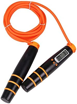 縄跳び 電子カウントロープ2.8Mスピードボクシングエクササイズロープデジタルフィットネスでタイマーベストギフトのために男の子と女の子をスキップ 家庭の屋外使用に適しています (Color : Orange, Size : Rope length 2.8m)