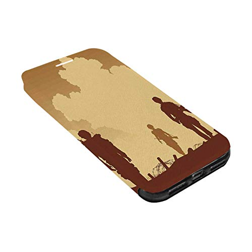War Home Decor Leather Phone Case,Soldier Shadows with