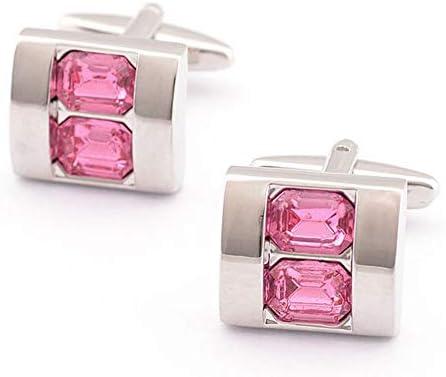 カフリンクス カフリンクスピンククリスタル理想的な男性用ギフトギフトボックス結婚式ビジネスギフトお父さん父息子最高の贈り物 ギフトに最適 (Color : Pink, Size : Free size)