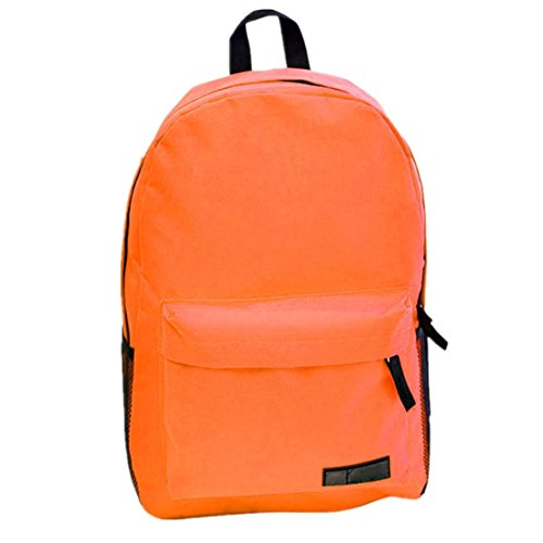 Clode® Moda mujer niñas Simple lona gran capacidad mochila mochila Naranja