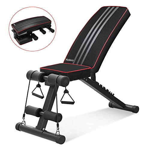 Yoleo Adjustable Weight Bench – Utility Weight Benches for Full Body Workout, Foldable Incline/Decline Bench Press for Home Gym