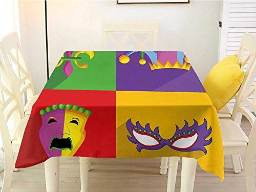 L'sWOW Square Tablecloth Sequins Mardi Gras Colorful Frames with Mardi Gras Icons Masks Harlequin Hat and Fleur De Lis Print Multicolor Clamps 60 x 60 Inch ()