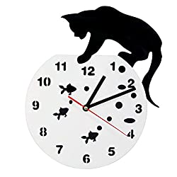 Zdtxkj Cat On A Fishbowl Adorable Wall Art Wall Clock Cat and Fish Home Decor Hunter Kitty Cat Modern Wall Clock Cat Pet Lovers Gift